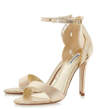 Dune London Gold Margaux Ankle Strap Sandals