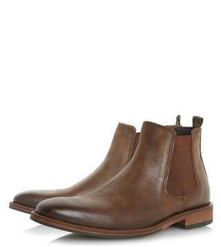 Dune London Brown Leather Conor Boots