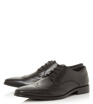 Dune London Black Leather Phils Brogue Shoes