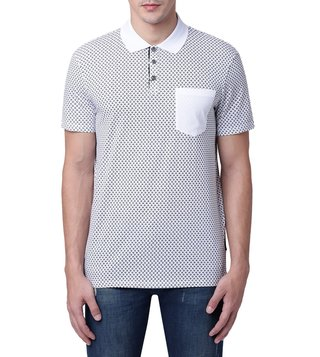 Armani Exchange White & Navy Micro Logo Contrast Pocket Polo T-Shirt