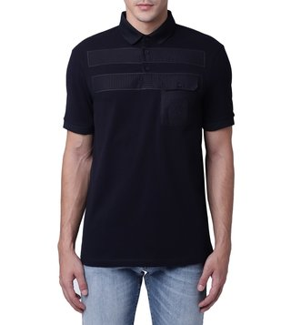 Armani Exchange Navy Tonal Stripe Pieced Pocket Polo T-Shirt