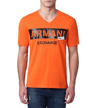 Armani Exchange Flame Stencil V Neck Logo T-Shirt