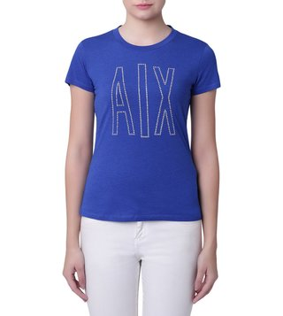 Armani Exchange Blue Caracao Studded Logo Classic T-Shirt
