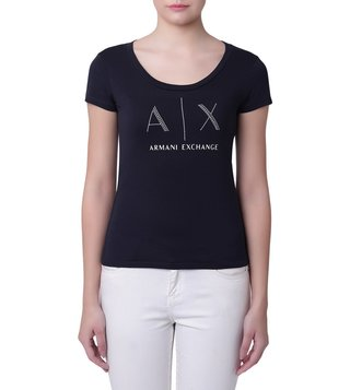 Armani Exchange Navy Nail Stud Scoop Neck T-Shirt