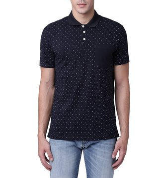 Armani Exchange Navy & White Micro Logo Contrast Pocket Polo T-Shirt