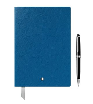 Montblanc Set with Meisterstück Platinum Classique Ballpoint Pen and #146 Electric Blue Notebook