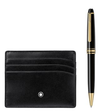 Montblanc Set with Meisterstück Yellow Gold Classique Ballpoint Pen and Black 6cc Pocket Holder