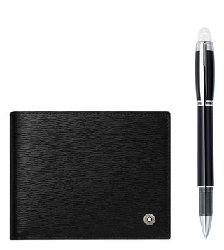 Montblanc Set with StarWalker Platinum Fineliner and 4810 Westside 6cc Black Wallet