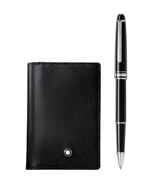 Montblanc Set with Meisterstück Platinum Classique Rollerball and Business Card Holder