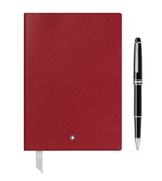 Montblanc Set with Meisterstück Platinum Classique Rollerball and #146 Red Notebook