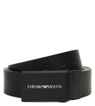 Emporio Armani Nero Printed Reversible Leather Belt