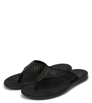Emporio Armani Black Tone On Tone Fabric Bands Flip Flops