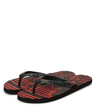 Emporio Armani Black & China Red Logo Comfort Flip Flops