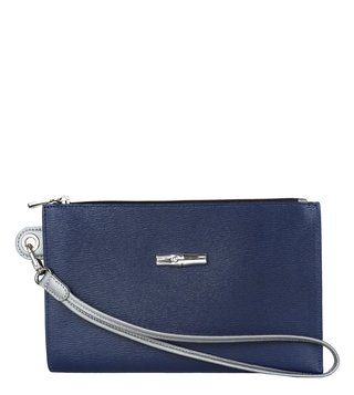 Longchamp Navy & Silvery Roseau Reversible Medium Pouch