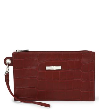 Longchamp Mahogany Roseau Croco Medium Pouch