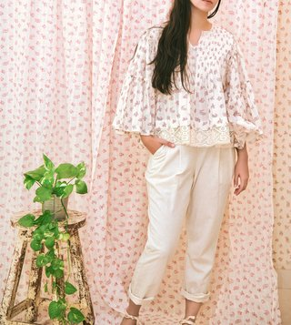Itr by Khyati Pande White Vintage Flared Blouse