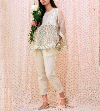 Itr by Khyati Pande White Moon Light Kedia Top