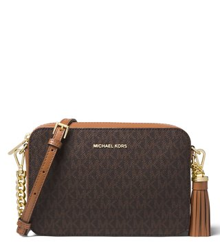 91a3a3fc5866 MICHAEL Michael Kors Logo Brown Medium Cross Body Bag ...
