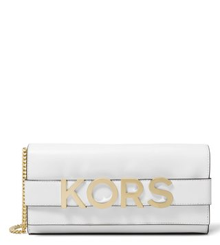 MICHAEL Michael Kors Optic White Bellamie Medium Clutch