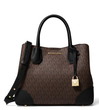 ff7e49cb4c91 MICHAEL Michael Kors Logo Brown   Black Mercer Gallery Medium Satchel ...