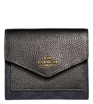 Coach Charcoal Metallic Graphite Small Wallet