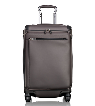 Tumi Taupe Arrive Gatwick International Expandable Leather Carry-On Luggage