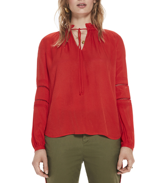 Scotch & Soda Poppy Red Viscose Tunic Top