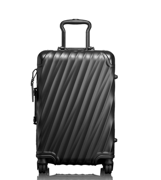 Tumi Matte Black Hard Shell Aluminum International Carry-On Luggage