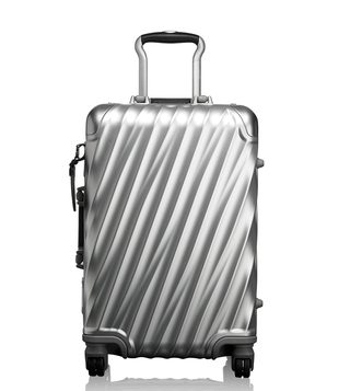 Tumi Silver Hard Shell Aluminum International Carry-On Luggage