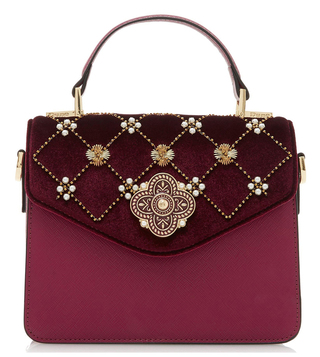 Dune London Berry Velvet Daarabia Cross Body Bag