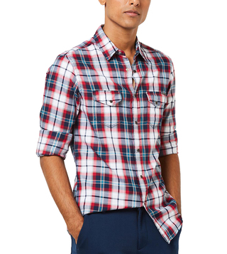 Gas Navy Kant S-S Slim Fit Casual Shirt