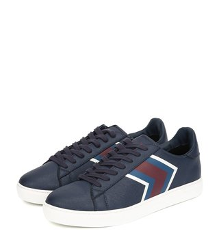 Armani Exchange Navy Chevron Low-Top Sneakers