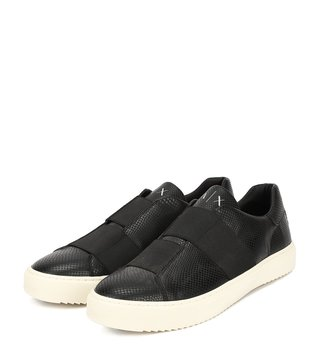 Armani Exchange Black Elastic Slip-On Sneakers