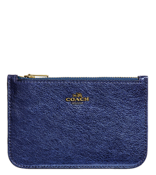 Coach Gold Metallic Blue Small Card Case
