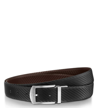 Lapis Bard Black Guilford Palladium Leather Reversible Belt (30 mm)