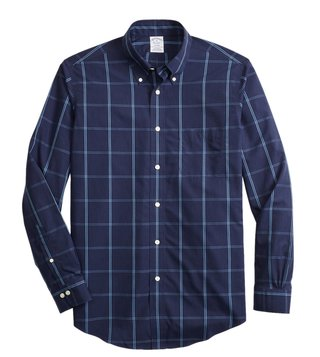 Brooks Brothers Navy Checks Yarn Dyes Regent Fit Shirt