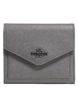 Coach Dark Heather Grey Crossgrain Leather Small Wallet