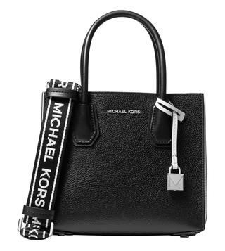 a8f8f47f34c78 MICHAEL Michael Kors Black & Optic White Mercer Logo Medium Cross Body Bag  ...