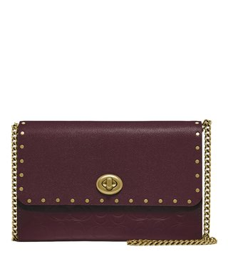 Coach Brass Oxblood Signature Studded Chain Handle Cross Body Bag
