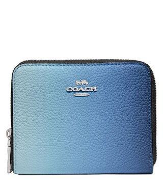 Coach Silver Blue Multicolor Ombre Zip Around Wallet