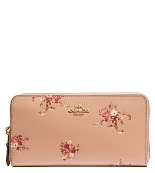 Coach Beechwood Floral Gold Printed Accordion Zip Wallet