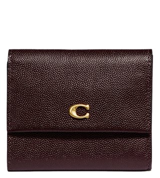 Coach Brass Black Small Foldover Wallet
