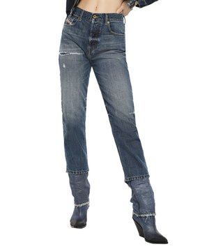 Diesel Tattered Medium Blue Aryel L.32 Pantaloni Straight Jeans
