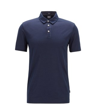 BOSS Dark Blue Press Slim Fit Polo T-Shirt