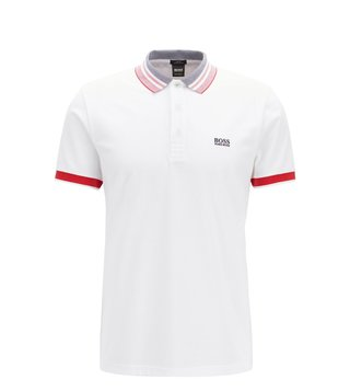 BOSS White Paule Slim Fit Polo T-Shirt