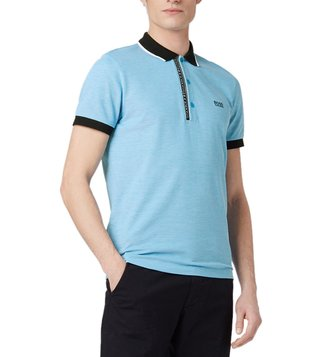 BOSS Bright Blue Paule Slim Fit Polo T-Shirt