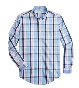 Brooks Brothers Light & Pastel Blue Yarndyed Regent Fit Checked Shirt