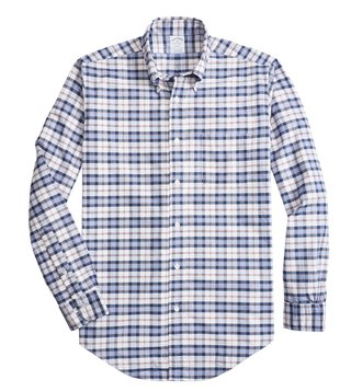 Brooks Brothers Open White Regent Fit Checked Shirt