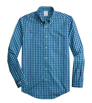 Brooks Brothers Navy Yarndyed Regent Fit Checked Shirt