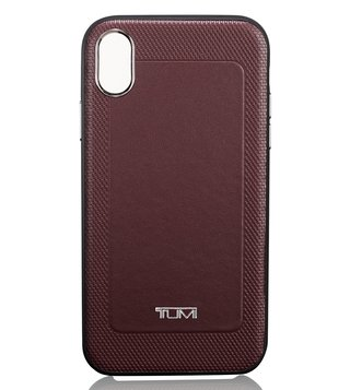 Tumi Burgundy Medium Protective Leather Co-Mold iPhone X & XS Case